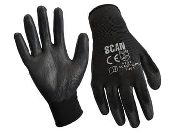 Black PU Coated Gloves - M (Size 8) (12 Pairs)